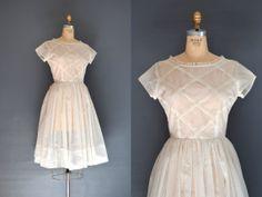 50s sheer dress / vintage 1950s white dress by BreanneFaouzi, $98.00