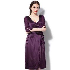 Purple Silk Long Robe Sleepwear Silk Sleepwear, Lingerie Sleepwear, Satin Gown, Dresses For Work, Gowns, Luxury, Purple, Fashion, Vestidos