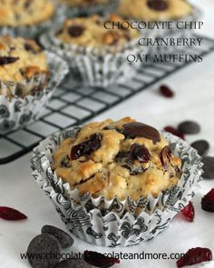 Chocolate Chip Cranberry Oat Muffins | Chocolate, Chocolate and more...