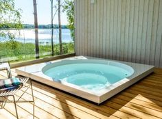 Nature-inspired Drop Design Pools and Fireplaces ~ Sauna from Finland Outdoor Pool, Outdoor Spaces, Outdoor Decor, Finnish Sauna, Spa Offers, Hot Tubs, Drops Design, Nature Inspired, Spas