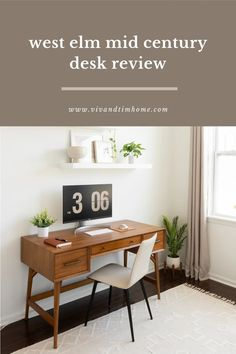 Sharing an honest review of the West Elm Mid Century Modern Desk in Acorn. Pros and cons and is it worth it. Midcentury modern office furniture ideas #westelm #midcenturydesk #midcenturymodern Modern Office Desk, Wood Office Desk, Office Nook, Office Furniture, Furniture Ideas, Mid Century Modern Desk, Cheap Wall Decor, Modern Style Homes, Home Decor Inspiration