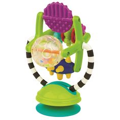 Engage baby's sense of touch with the Sassy Teethe and Twirl Sensation Station. The soft-touch pieces on the spinning Ferris wheel are great for baby to explore with mouth or hands. The bright, contrasting colors further capture baby's attention. The suction cup base attaches to flat surfaces, or remove the base for on-the-go fun! The Sassy Teethe and Twirl Sensation Station Features Soft-touch pieces are great for mouthing.  We ordered this for use with the Bumbo seat so I'll update later.