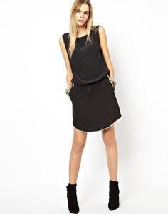 Black dress with cream contrast trim