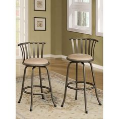 """---  - """"Set includes: Two bar stools."""" - """"Materials: Metal tube frame and microfiber fabric."""" - """"Finish: Pewter bronze."""" - """"Upholstery materials: Microfiber."""" - """"Upholstery color: Beige ."""" - Adjustable seat height. - 360-degree swivel seat. - Comfort back seat support. - Full ring footrest. - Stools come in set of 2. - """" Seat height: 24 inches high (counter height) or 29 inches high (bar stool height)."""" - """" Counter height overall dimensions: 37 inches high x 16 inches wide x 16 inches deep.""""…"""