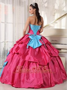 Brand New Aqua Blue and Hot Pink Quinceanera Dress Sweetheart Taffeta Appliques  Ball Gown. These colors are so cute together!!