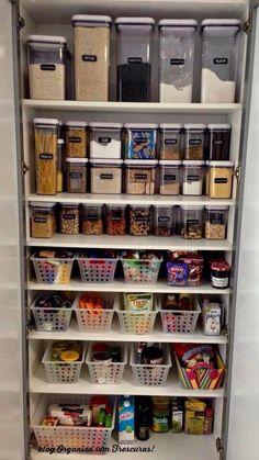 Ideas for kitchen storage organization pantry organisation projects Kitchen Pantry Design, Kitchen Organization Pantry, Interior Design Kitchen, Diy Kitchen, Pantry Ideas, Organized Pantry, Kitchen Pantries, Organize Small Pantry, Kitchen Storage Hacks