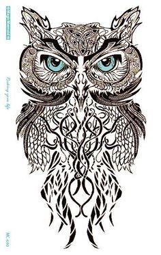 MC690 19X12cm HD Large Tattoo Sticker Body Art Gray Draw OWL Temporary Tattoo Terrorist Stickers Flash Taty Tatoo