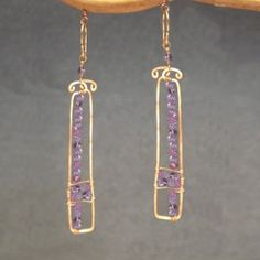 Bohemian 104 Hammered rectangles with amethyst by CalicoJunoJewelry on Etsy