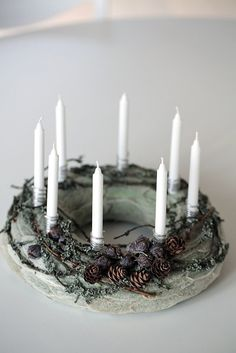 Custom order for Kirsten Advent Wreath- Holiday Wreath- Christmas Wreath- Candle ring -Centerpiece – Home decor Lambs Ear is a plant with small patches of [. Christmas And New Year, Christmas Time, Holiday Wreaths, Christmas Decorations, Advent Candles, Advent Wreath, Candle Rings, Lambs Ear, Handmade Home Decor