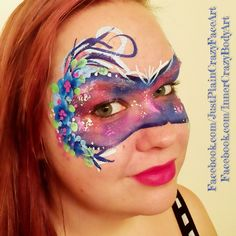 Galaxy mask with flowers Face paint face painting Makeup art teen adult design  Artist - Marie Sulcoski