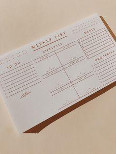 Wilde House Paper – Weekly List Pad Planning To Do Calendar Organized Bujo, To Do Calendar, Planners, Calendar Organization, Pad Design, Ideias Diy, Bullet Journal Art, Stationery Design, Weekly Planner