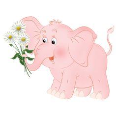 Слоненок с цветами - Слон Фото