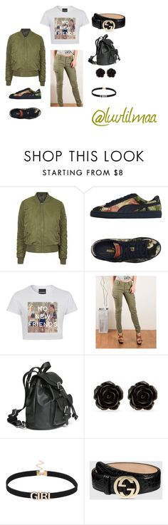 """No New Friends"" by luvlilmaa on Polyvore featuring Topshop, Puma, Fashionomics, Erica Lyons and Gucci"