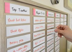 Office organization : magnetic to-do board where you can move tasks around from column to column. Want to do this in new office.