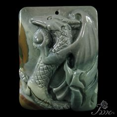 UNIQUE JEWELRY ACCESSORY PENDANT HAND CARVED PTEROSAUR SUCCOR CREEK JASPE D01510 #ZL #Pendant