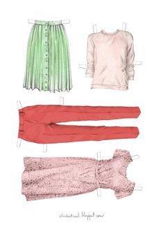 #ElementEdenArtSearch Paper doll clothes. - Graphite pencils, watercolours, and digital colouring.