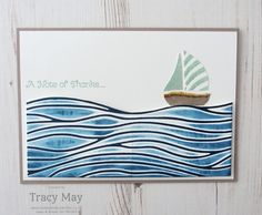 """handmade card ... ocean scen with a sailboat ... luv the """"ocean"""" ... looks like she inked the embossing folder twice ....brown for the embossed lines ... blue for the debossed areas ... have to check this out ..."""