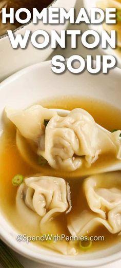 Wontons, Wor Wonton Soup, Wonton Soup Broth, Chinese Wonton Soup Recipe, Chinese Soup Recipes, Chow Mein, 30 Min Meals, Wonton Recipes, Asian Soup