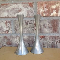 Pair of Matte Silver Mid Century Modern - AS Arthur Salm Solingen Germany Stainless Candle Holders  on Etsy, $16.95
