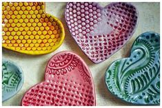 Have a Heart - small dish- yellow and red honeycomb pattern on Etsy, Sold Clay Projects For Kids, Kids Clay, Ceramic Clay, Ceramic Pottery, Biscuit, Clay Bowl, Honeycomb Pattern, Pottery Classes, Ceramics Projects