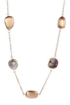 Rivka Friedman 18K Gold Clad Labradorite & Satin Pebble Necklace on HauteLook