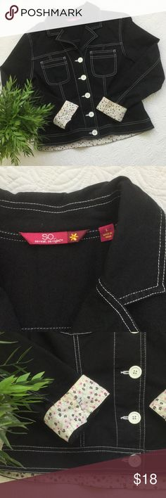 Super cute black jacket by So.... This is a great jacket for fall! Not too heavy but not super light either. Size L but runs small. Please see measurements in pics & ask if you need more. 98% cotton & 4% Lycra/Spandex. A little discoloration around but cuffs from wear. See pics. SO Jackets & Coats