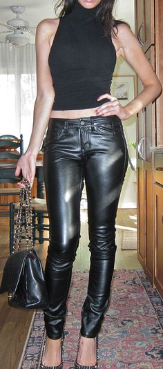 NWT Saks Fifth Ave Leather Like Faux Pants Jeans by Veraplomb, $65.00