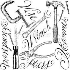 Sketchy Hand Drawn Construction Tools With Calligraphy
