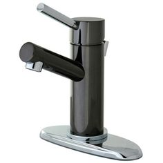 Kingston Brass 4 in. Centerset Single-Handle Bathroom Faucet Bathroom Faucet in Black and Chrome
