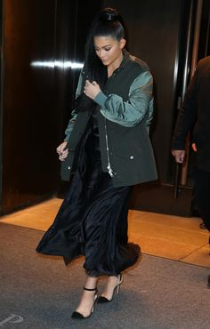 Kylie Jenner wearing Alexander Wang Pre-Fall 2016 Layered Parka Jacket and Gianvito Rossi Slingback Suede and PVC Pumps