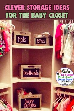 Nursery Closet Organization Tips, Baby Clothes Storage Ideas & Small Closet Organization Hacks To TOTALLY Organize The Baby Closet… Even if you're on a budget – Want to easily organize … Nursery Closet Organization, Baby Closet Organization, Nursery Storage, Baby Room Closet, Baby Hangers, Closet Hacks, Baby Clothes Storage, Closet Rod, Small Closets