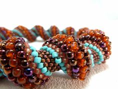 Burnished Leather Cellini Spiral Beadwoven by littlestonedesign, $59.00