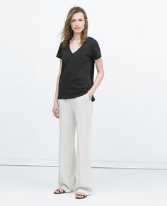 Image 1 of V-NECK STRIPED T-SHIRT from Zara