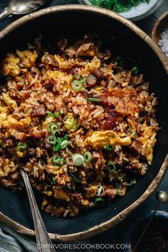 XO Fried Rice with Char Siu | Omnivore's Cookbook Rice Recipes, Pork Recipes, Char Siu Pork Recipe, Chinese Bbq Pork, Steam Veggies, Chinese Restaurant, Fried Rice, Main Dishes, Nasi Goreng