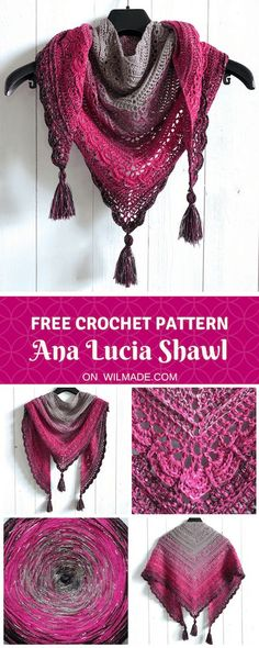 Ana Lucia Shawl - a free crochet shawl pattern by Wilmade (crochet easy projects)Here you can find my free crochet shawl pattern of the Ana Lucia Shawl. The shawl has beautiful details and is made with double crochet stitches. Poncho Au Crochet, Crochet Shawls And Wraps, Crochet Scarves, Crochet Clothes, Crochet Hats, Knitting Scarves, Free Knitting, Crochet Ideas, Crochet Shirt
