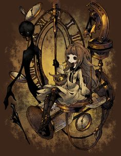 1girl amputee brown_hair deemo deemo_(character) doll_joints dress expressionless full_body girl_(deemo) hourglass looking_away maritsu_(malchidael) prosthesis sitting watch watch