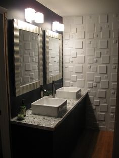 3d wall panels in powder room