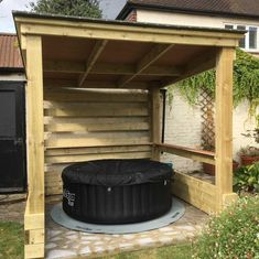 Need a hot tub shelter or hot tub gazebo to keep you dry? Check out our Top 10 Hot Tub Shelters which will inspire you and your garden setup! Hot Tub Garden, Garden Gazebo, Diy Garden, Pergola Patio, Home And Garden, Deck Gazebo, Garden Huts, Curved Pergola, Small Pergola