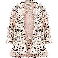 Plus collection Crepe fabric Floral print Lace trims Frill hem detail Long bell sleeve Open front Plus Size Guide