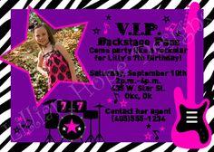 ROCK STAR Party Invitation  PRINTABLE Custom by LillianHopeDesigns, $13.00