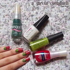 Nail Art: Morango. Esmaltes Usados: Morango em Pedaços (Beauty Color), Sombra e Água Fresca (Avon), Verde Diferente (Risqué) e Branco Total (Cora). Por: A Garota Esmaltada (http://agarotaesmaltada.tumblr.com)