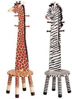 Coat rack stools in zebra design