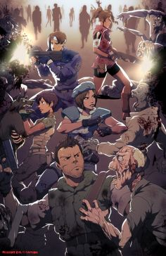 Resident Evil - Claire Redfield, Leon Kennedy, Rebecca Chambers, Jill Valentine, and Chris Redfield