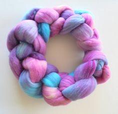 Handpainted Organic Polwarth Braid - Polwarth Top - Polwarth Roving - Spinning Fiber - Wool Fiber - Dyed Polwarth Wool - Spin, Felt by PurpleLamb on Etsy