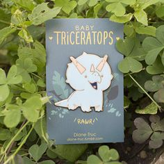 Baby Triceratops Enamel Pin by MajikaYo on Etsyy