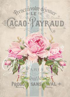 Vintage roses blue banner Digital collage p1022