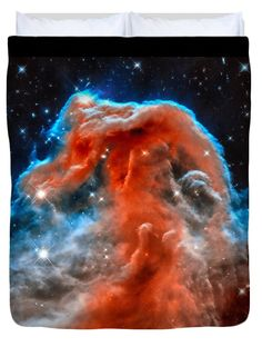 Duvet cover / bedding: Space image horsehead nebula orange red blue black. Bring the universe into your bedroom and sleep under the stars! Digital enhanced photo. All duvet covers are available in King, Queen, Full and Twin size. Credit for the original image: NASA, ESA, and the Hubble Heritage Team.