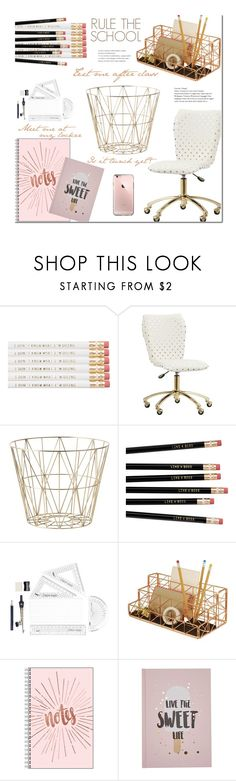 """""""Rule the S c h o o l - H o m e Office (Teens)"""" by nonniekiss ❤ liked on Polyvore featuring interior, interiors, interior design, home, home decor, interior decorating, PBteen, ferm LIVING and Design Ideas"""