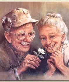 Personnes agées Love In Bloom by Dianne Dengel Vieux Couples, Serge Reggiani, Older Couples, Growing Old Together, Old Folks, Lasting Love, Illustration, Young At Heart, Getting Old
