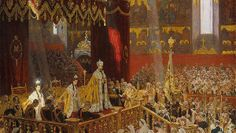 This painting, among several others below, depicts the coronation of the last Russian tsar and tsaritsa in Moscow.